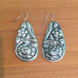 Jewelry - Drop earrings, I believe to be Mexican silver.